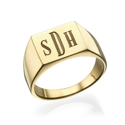 Monogrammed Signet Personalised Ring - 18ct Gold Plated - AMAZINGNECKLACE.COM