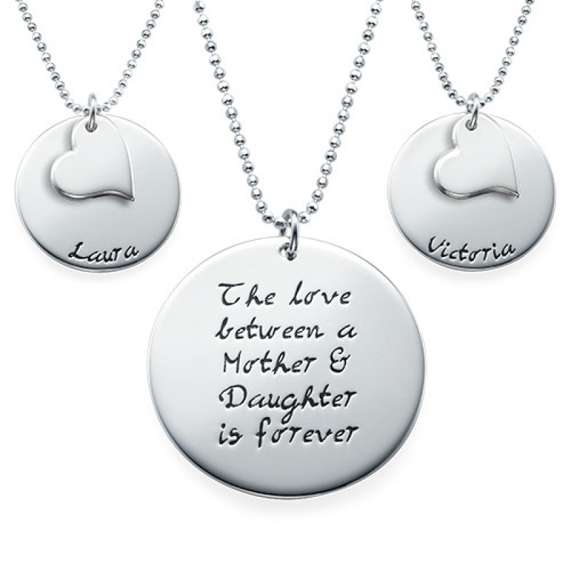 Mother Daughter Gift - Set of Three Engraved Personalised Necklaces - AMAZINGNECKLACE.COM