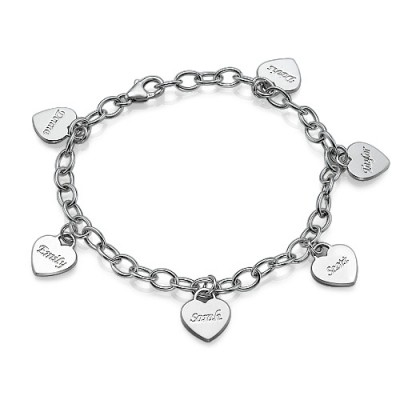 Mum Charm Bracelet/Anklet with Personalised Hearts - AMAZINGNECKLACE.COM