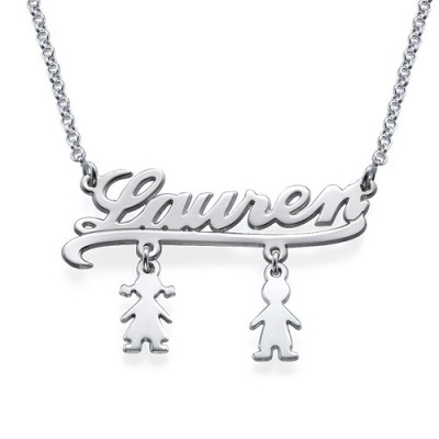 Mummy Name Personalised Necklace with Kids Charms - AMAZINGNECKLACE.COM