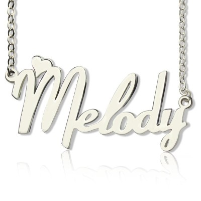 Personalised 18ct White Gold Plated Fiolex Girls Fonts Heart Name Necklace - AMAZINGNECKLACE.COM