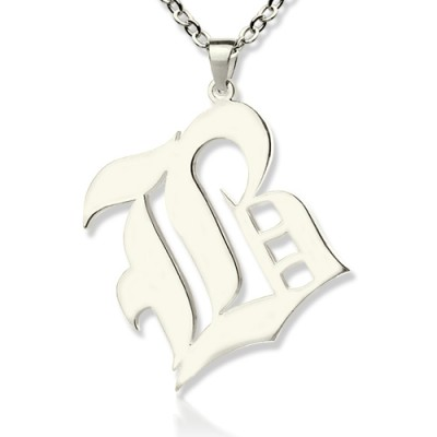 Personalised Initial Letter Charm Old English Sterling Silver - AMAZINGNECKLACE.COM
