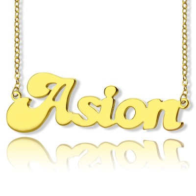 Personalised 18ct Gold Plated BANANA Font Style Name Necklace - AMAZINGNECKLACE.COM