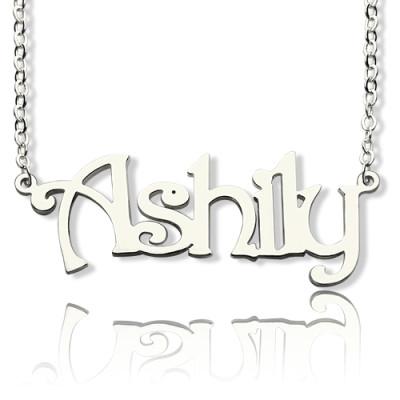 925 Sterling Silver Harrington Font Name Personalised Necklace - AMAZINGNECKLACE.COM
