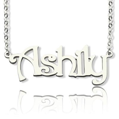 Sterling Silver Harrington Font Name Personalised Necklace - AMAZINGNECKLACE.COM