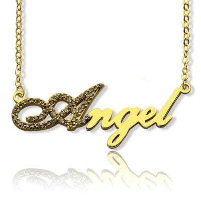 18ct Gold Plated Script Name Personalised Necklace-Initial Full Birthstone  - AMAZINGNECKLACE.COM