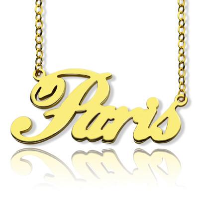 Paris Hilton Style Name Personalised Necklace 18ct Solid Gold - AMAZINGNECKLACE.COM