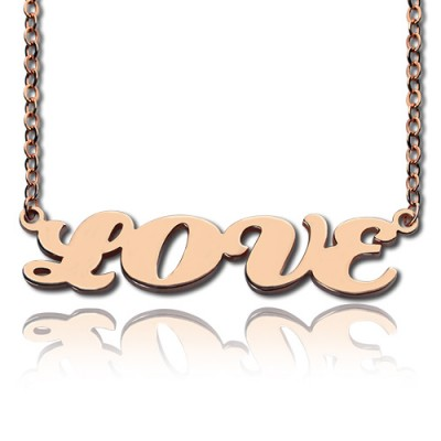 18ct Rose Gold Plated Capital Puff Font Name Personalised Necklace - AMAZINGNECKLACE.COM