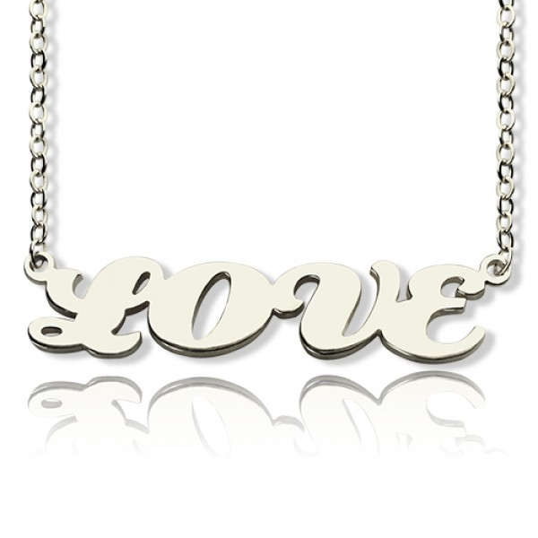 8f6829341f6a2 18ct White Gold Plated Capital Puff Font Name Personalised Necklace -  AMAZINGNECKLACE.COM