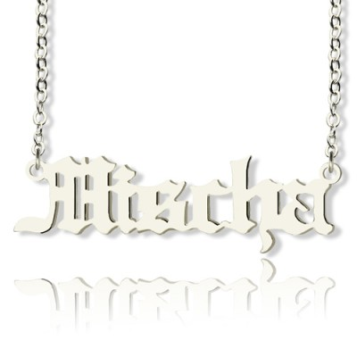 Mischa Barton Style Old English Font Name Personalised Necklace 18ct White Gold Plated - AMAZINGNECKLACE.COM