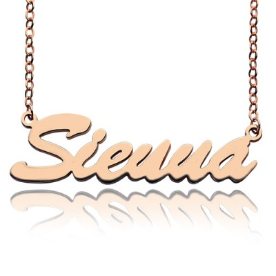 18ct Rose Gold Plated Sienna Style Name Personalised Necklace - AMAZINGNECKLACE.COM