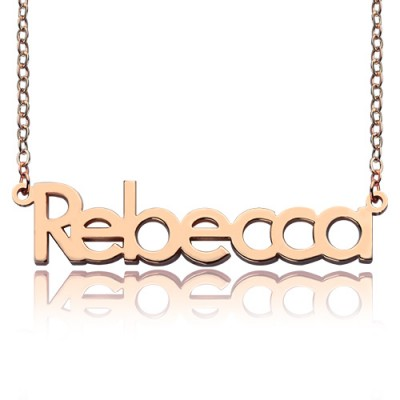 18ct Rose Gold Plated Rebecca Style Name Personalised Necklace - AMAZINGNECKLACE.COM