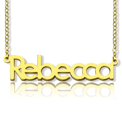 """Nameplate Personalised Necklace 18ct Gold Plating """"Rebecca"""" - AMAZINGNECKLACE.COM"""