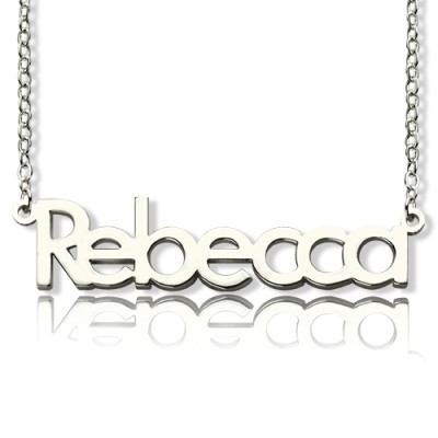 Solid White Gold Rebecca Style Name Personalised Necklace - AMAZINGNECKLACE.COM