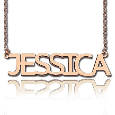 Solid Rose Gold Plated Jessica Style Name Personalised Necklace - AMAZINGNECKLACE.COM