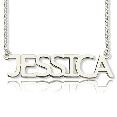 Solid White Gold Plated Jessica Style Name Personalised Necklace - AMAZINGNECKLACE.COM