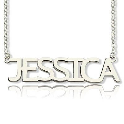 """Block Letter Name Personalised Necklace Silver - """"jessica"""" - AMAZINGNECKLACE.COM"""