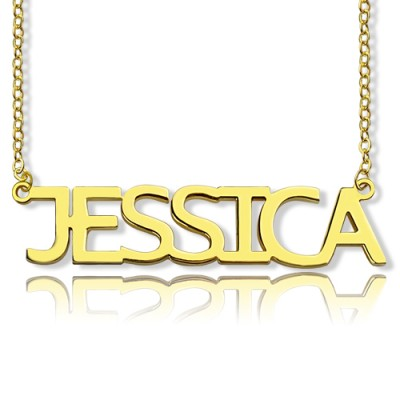 Solid Gold Plated Jessica Style Name Personalised Necklace - AMAZINGNECKLACE.COM
