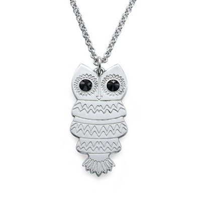 Owl Personalised Necklace with Back Engraving - AMAZINGNECKLACE.COM