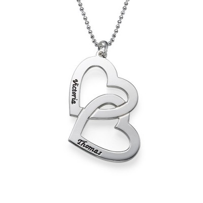 Personalised Heart in Heart Necklace - AMAZINGNECKLACE.COM