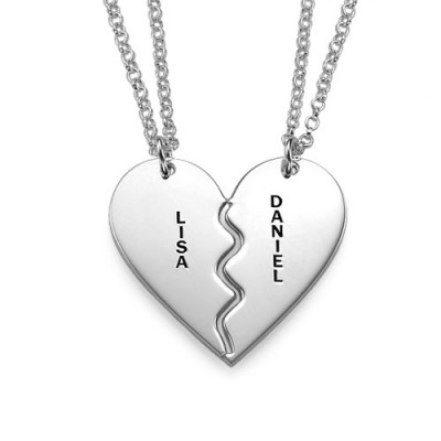 Personalised Silver Breakable Heart Necklaces - AMAZINGNECKLACE.COM
