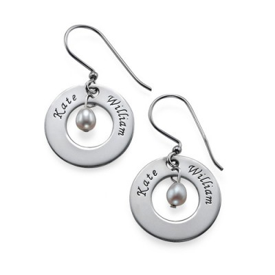 Personalised Earrings with Two Names  Birthstone  - AMAZINGNECKLACE.COM