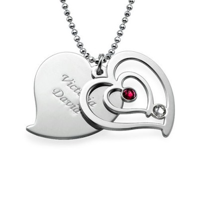 Personalised Couples Birthstone Heart Necklace  - AMAZINGNECKLACE.COM