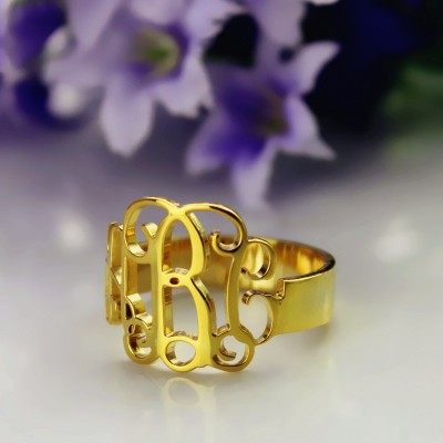 18ct Gold Plated Monogram Personalised Ring Cut Out - AMAZINGNECKLACE.COM