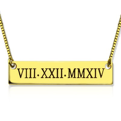 Personalised Roman Numeral Bar Necklace 18ct Gold Plated - AMAZINGNECKLACE.COM