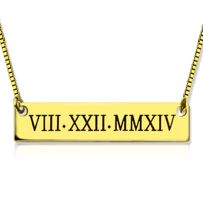 0ef67ce787162e Personalised Roman Numeral Bar Necklace 18ct Gold Plated -  AMAZINGNECKLACE.COM