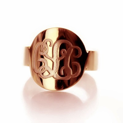 Engraved Script Rose Gold Monogrammed Personalised Ring - AMAZINGNECKLACE.COM