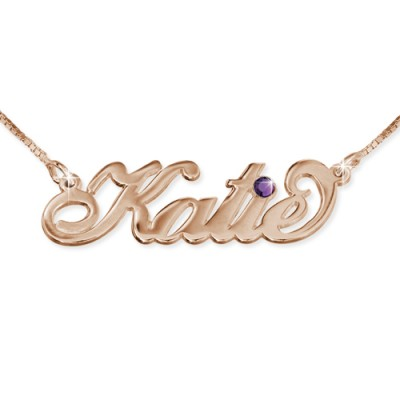 Rose Gold Plated Silver Swarovski Personalised Necklace - AMAZINGNECKLACE.COM