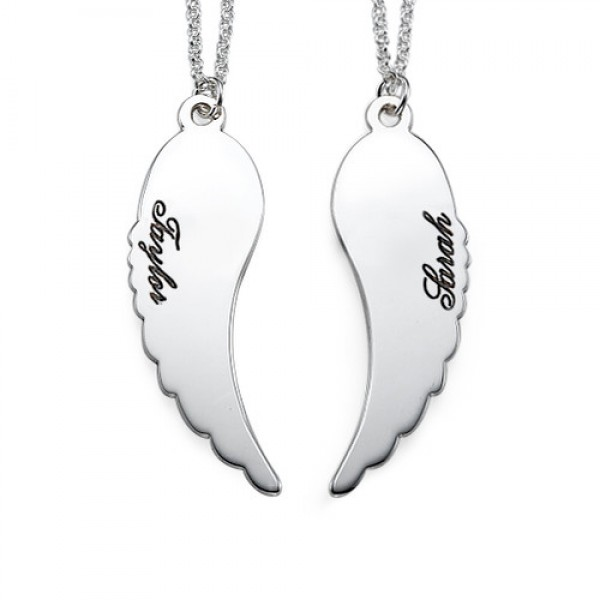 Set of Two Sterling Silver Angel Wings Personalised Necklace - AMAZINGNECKLACE.COM
