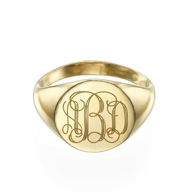 Signet Personalised Ring in Gold Plating with Engraved Monogram - AMAZINGNECKLACE.COM