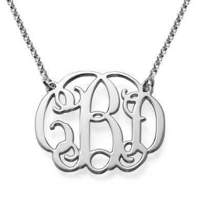 Silver Celebrity Style Monogram Personalised Necklace - AMAZINGNECKLACE.COM