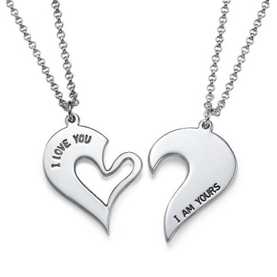 Silver Couples Breakable Heart Personalised Necklace - AMAZINGNECKLACE.COM