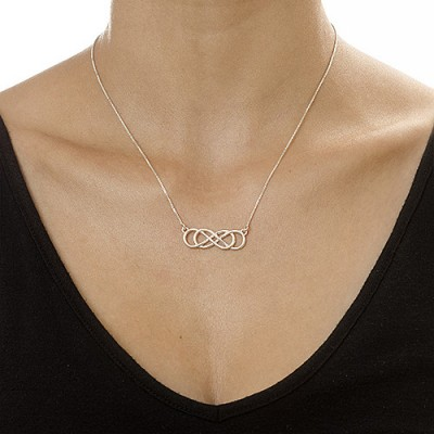Silver Double Infinity Personalised Necklace - AMAZINGNECKLACE.COM