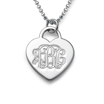 Silver Engraved Monogram Initials Heart Pendant - AMAZINGNECKLACE.COM