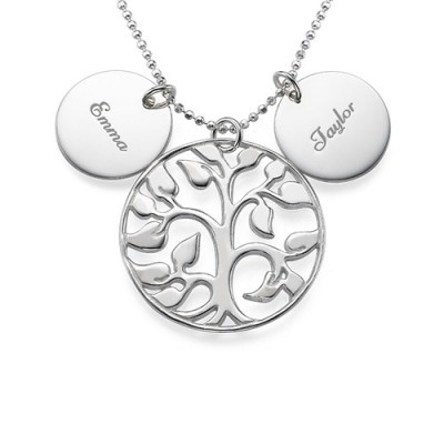 Engraved Disc Cut Out Family Tree Personalised Necklace - AMAZINGNECKLACE.COM