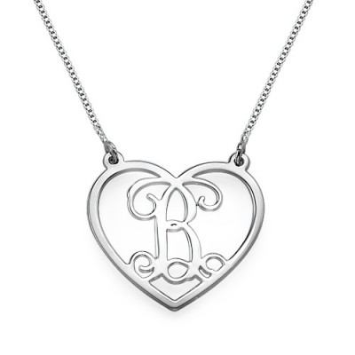 Silver Heart Initials Personalised Necklace - AMAZINGNECKLACE.COM
