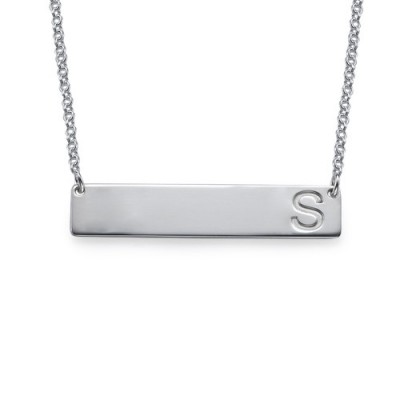 Silver Horizontal Initial Bar Personalised Necklace - AMAZINGNECKLACE.COM