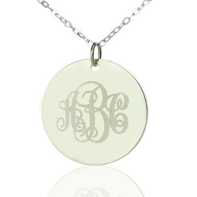Engraved Disc Monogram Personalised Necklace Sterling Silver - AMAZINGNECKLACE.COM