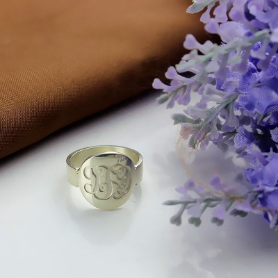 Make Your Own Monogram Itnitial Personalised Ring Sterling Silver - AMAZINGNECKLACE.COM