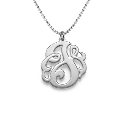 Silver Swirly Initial Personalised Necklace - AMAZINGNECKLACE.COM