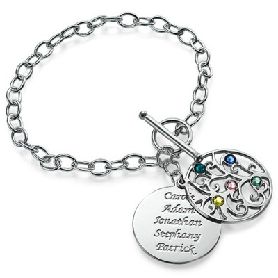 Silver Tree of Life Personalised Bracelet - Filigree Style - AMAZINGNECKLACE.COM