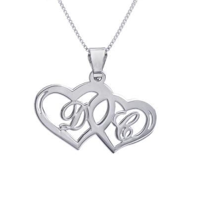 Silver Couples Hearts Pendant - AMAZINGNECKLACE.COM