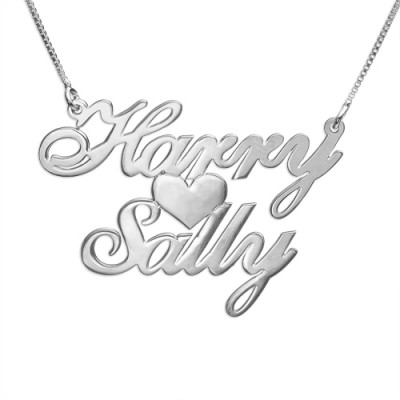 Silver Two Names  Heart Love Personalised Necklace - AMAZINGNECKLACE.COM