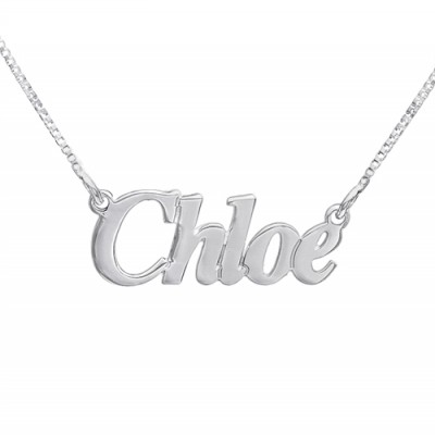 Small Angel Style Silver Name Personalised Necklace - AMAZINGNECKLACE.COM