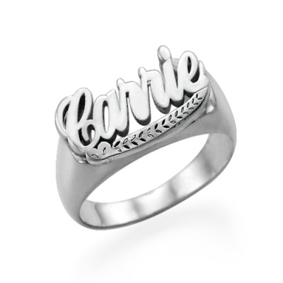 "Sterling Silver ""Carrie"" Name Personalised Ring - AMAZINGNECKLACE.COM"