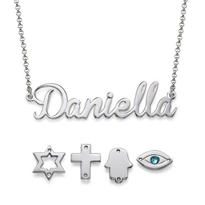 Sterling Silver Charm Name Personalised Necklace - AMAZINGNECKLACE.COM